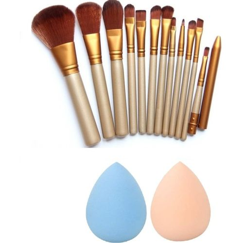 Love Nature Makeup Brush Set Of 12 + 2 Pcs Menow Beauty Blender(Pack of 14)