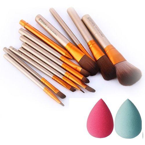 Love Nature Naked3 Makeup Brush Set + 2 Sponge Puff(Pack of 14)