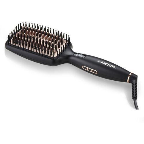 Nova NHS 904 Heated Straightening Smoothing Brush Hair Straightener(Black)