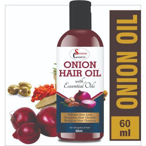 SKOOKUM Onion Oil for Hair Growth for Women & Men | Organic and Natural Hair Oil(60 ml)