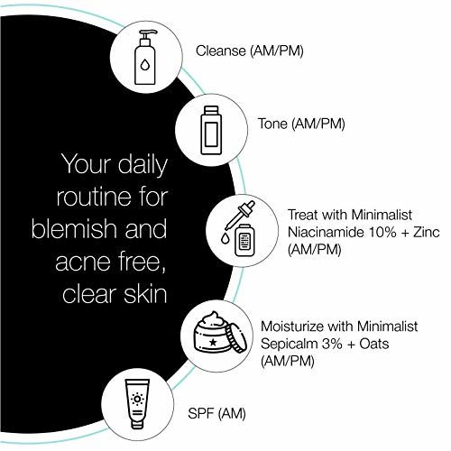 Minimalist Niacinamide 10% for Blemishes, Acne Marks & Oil Balancing with Zinc   Skin Clarifying Anti-Acne Face Serum for Acne Prone or Oily Skin   30ml