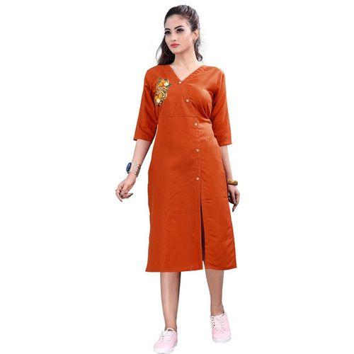 Radhika Creation Women Embroidered Frontslit Kurta(Orange)