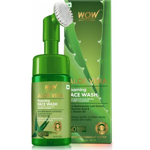 WOW Skin Science Aloe Vera Foaming with Built-In Face Brush for deep cleansing - No Parabens, Sulphate, Silicones & Color - 100mL Face Wash(100 ml)