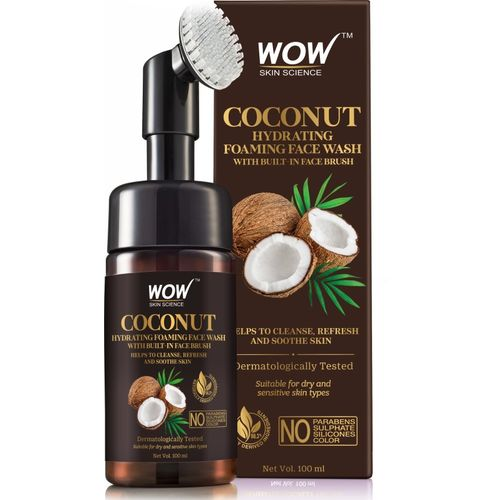 WOW Skin Science Coconut Hydrating Foaming with Built-In Face Brush - with Coconut Water - For Cleansing, Soothing Skin - No Parabens, Sulphate, Silicones &
