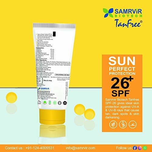 Samrvir Biotech Tanfree Tanfree Sunscreen For Women And Men SPF 26+ Ultra Moisturizing Sun Protection For Oily Skin Invisible Lotion 50ml