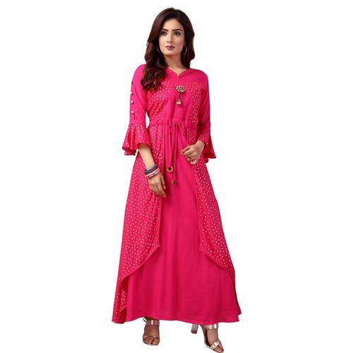 Madhuram textiles Women Printed A-line Kurta(Gold, Pink)