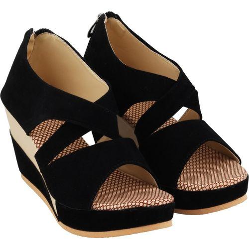 ABJ Fashion Women Black Wedges