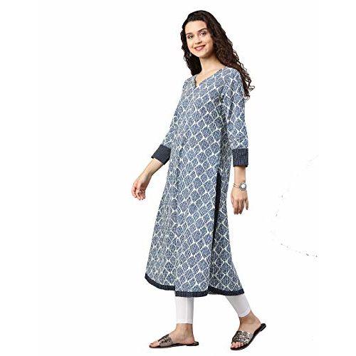 Yash Gallery Women's Cotton Straight Jacket Style Kurta (Blue)