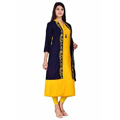 Pushkar studio Women Rayon Selfie Style Kurti with Blue Embroidery Attached Jacket