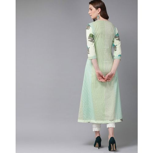 Juniper Printed A-line Kurta with Attached Jacket