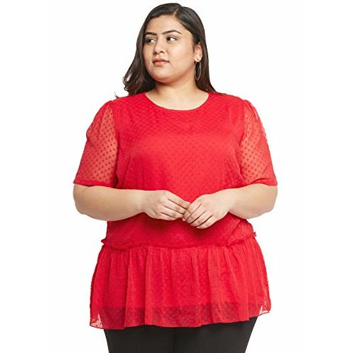 aLL Plus Size Women Red Print Top