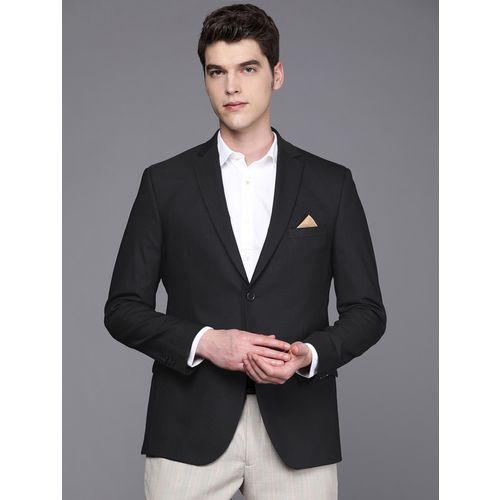 SUITLTD navy blue solid single breasted casual blazer
