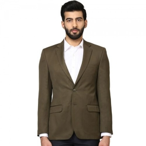 Raymond olive green solid single breasted formal blazer