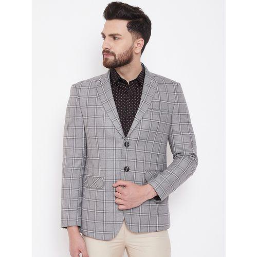 Canary London grey checkered single breasted casual blazer