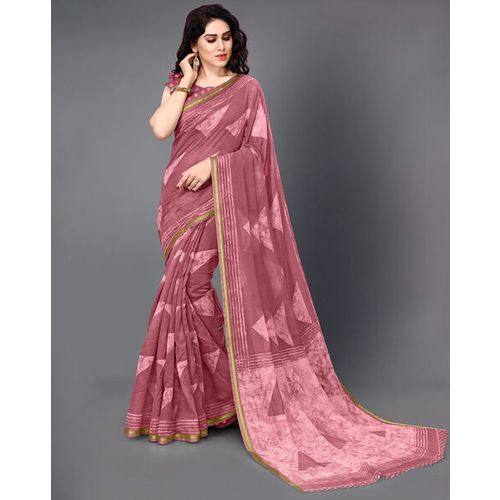 MIRCHI FASHION New Cotton Printed Zari Bordered Saree with Unstitched Blouse Piece