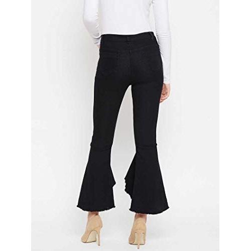 KUSHANJALI DESIGNERS Black Flared Jeans for Women
