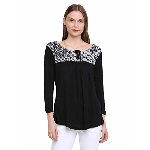RUTE Women's Viscose 3/4Th Sleeve Printed Top with Plus Size (2XS to 10XL)