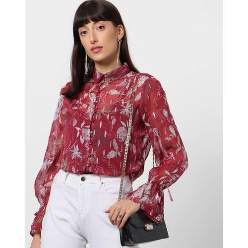 Outryt Women Floral Print Maroon Shirt with Flounce Sleeve Hems