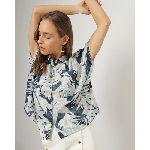Outryt Women Blue Floral Print Shirt
