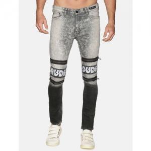 KULTPRIT grey stone washed biker denim jeans