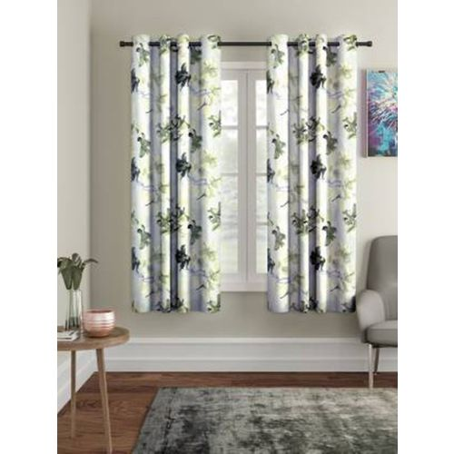 Kiara Creations 153 cm (5 ft) Polyester Window Curtain (Pack Of 2)(Floral, Grey)
