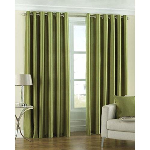 ROOMIAC - The Elegant Rooms Premium Thick 1 Piece Polyester Long Crush Curtains - Green, 9ft