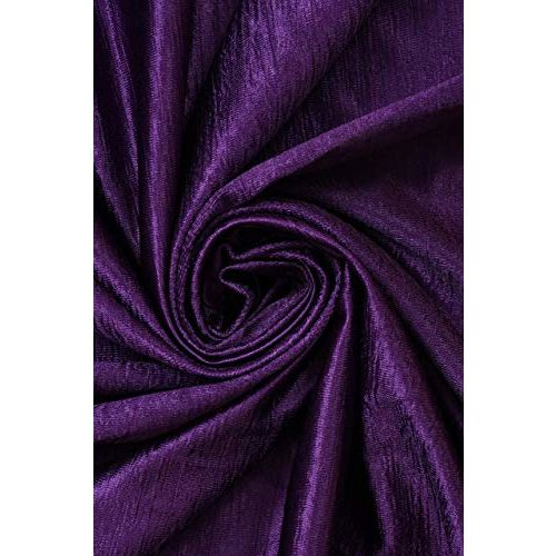 GOYCORS Long Crush Printed and Solid Curtains for Large Window Set of 4 Pieces - (Purple, 6 Feet)