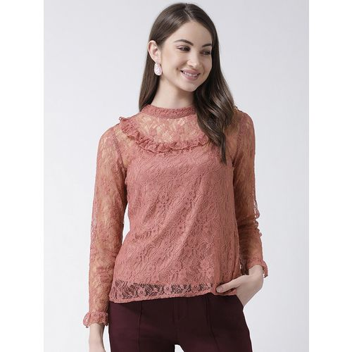 KASSUALLY frill detail laced top