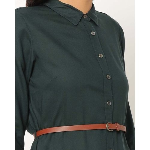 Fig Button-Down A-line Tunic with Belt & Mask