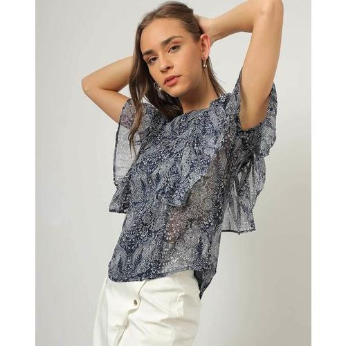 Outryt Women Printed Ruffled Round-Neck Navy Blue Top