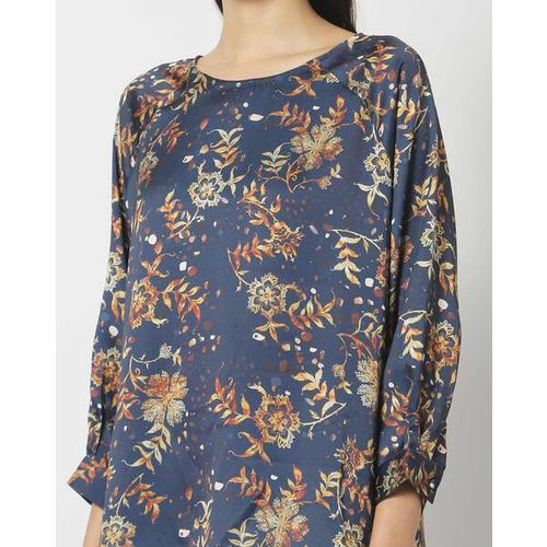 Outryt Floral Print Round-Neck Top with Bishop Sleeves