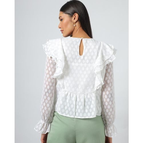 Outryt Women Textured Ruffled Overlay Top