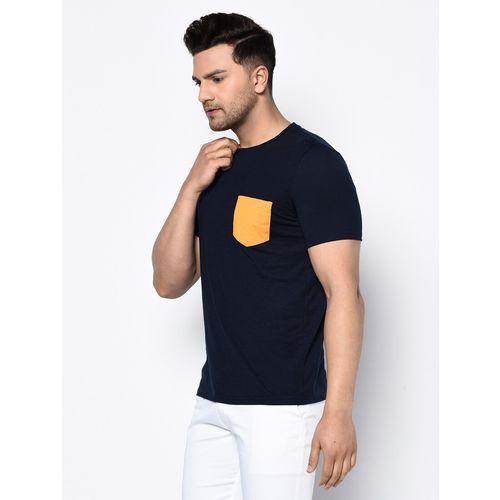 Glito navy blue solid pocket t-shirt