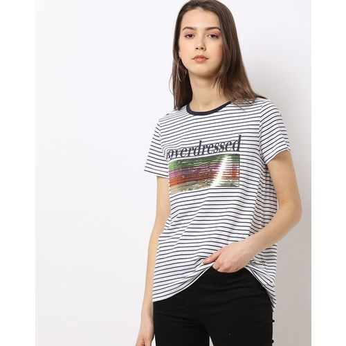 DNMX Striped Crew-Neck T-shirt with Sequin Accent