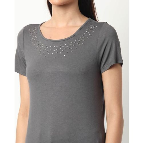 Fig Embellished Round-Neck T-shirt