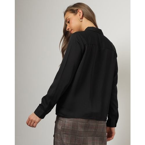 Outryt Women Black Utility Shirt with Flap Pockets