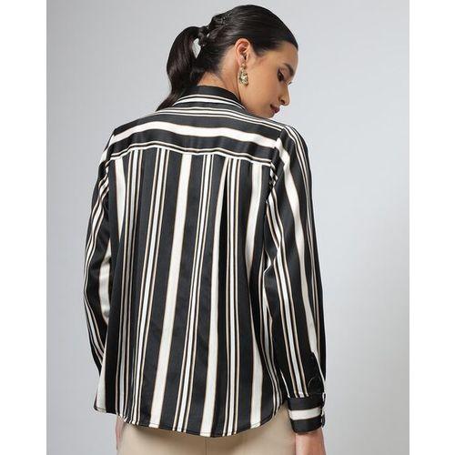 Outryt Black Striped Women Shirt