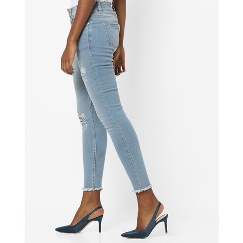 Blue Saint Lightly Washed Distressed Slim Fit Jeans