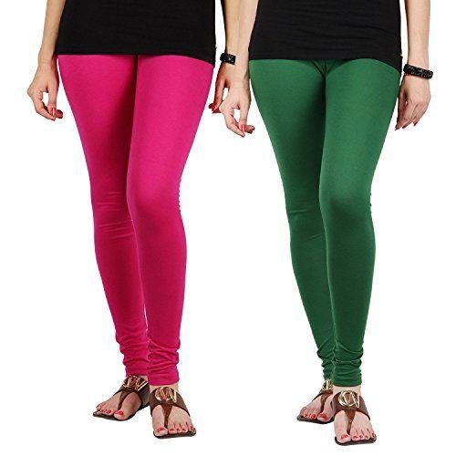 FabLab Cotton Lycra Churidar Leggings(FLCLCOMBO2PDG,Pink, Dark Green,Free Size) Combo Pack of 2