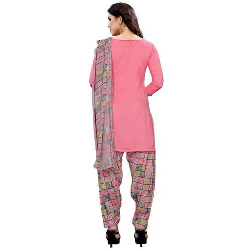 Oomph! pink crepe salwar suit unstitched