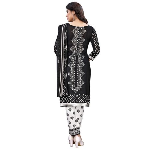 Oomph! black crepe salwar suit unstitched