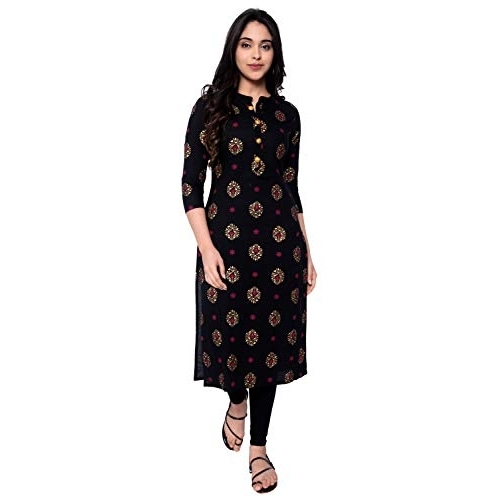 Generic janakdulari Fashion Black Pure Cotton Printed Straight Kurti