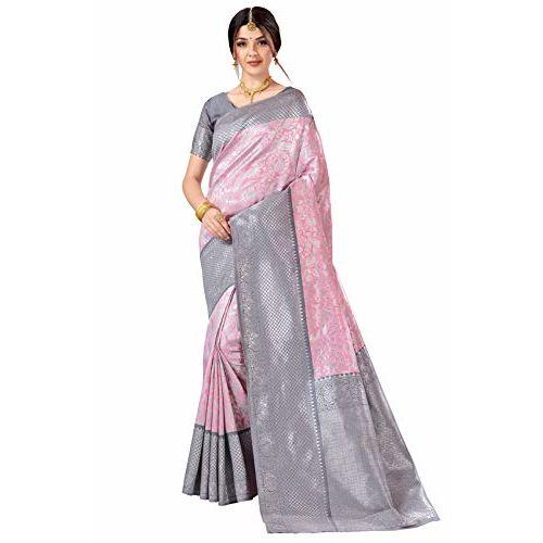 CLOTHAM Womens Banarasi Saree (Vivah_Silk102_Pink)
