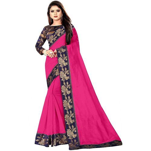 FABMORA Solid Chanderi Cotton Silk, Jacquard Saree(Pink)