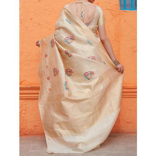 Aloki floral zari motif banarasi saree with blouse