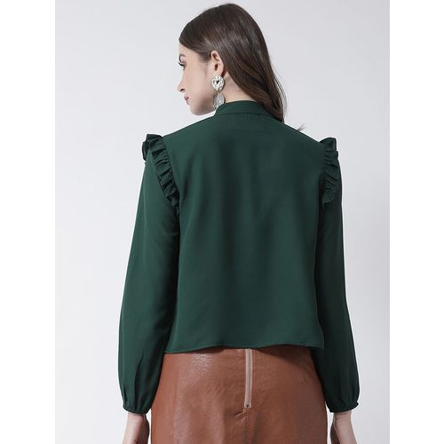 KASSUALLY frill detail solid top