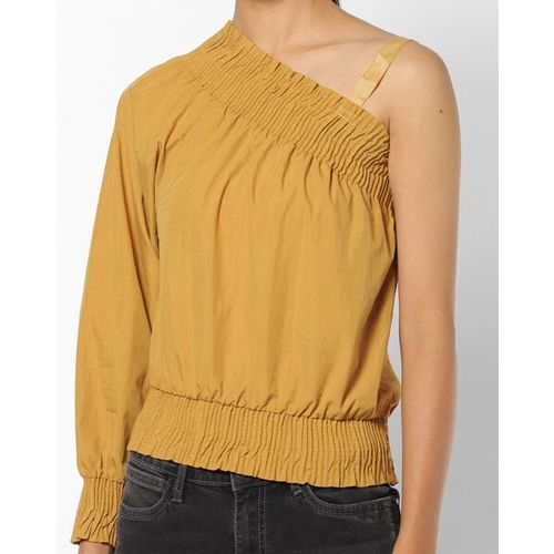 Camla Textured One-Shoulder Top with Elasticated Waistband
