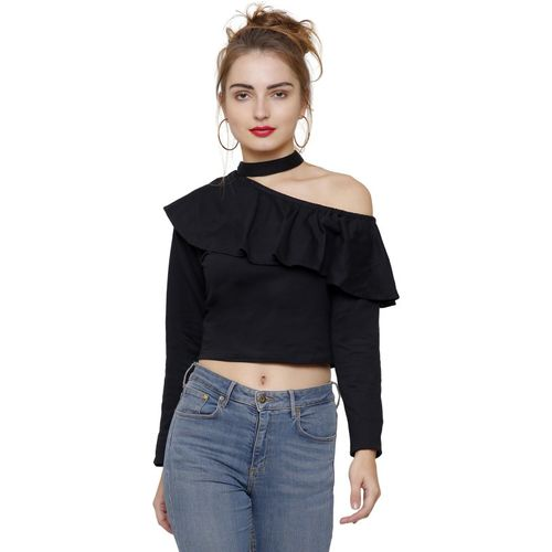 Dracht Casual Full Sleeve Solid Women Black Top