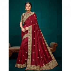 Indian Women Maroon Silk Blend Embroidered Saree With Blouse
