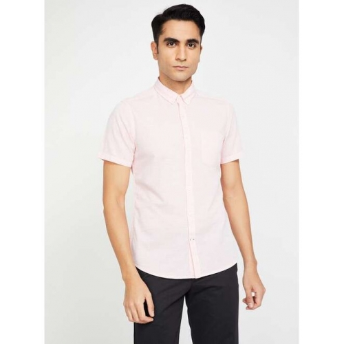 FAME FOREVER Textured Slim Casual Shirt with Short Sleeves